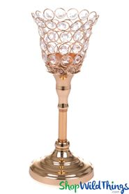 "Beaded Real Crystals Candle Holder - Tulip Shape - ""Prestige"" - Gold 11 1/4"" - BUY MORE, SAVE MORE!"