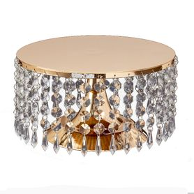 "Beaded Real Crystal Cake Stand & Centerpiece Riser - ""Prestige"" - 9.75"" Gold"