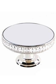 "Beaded Real Crystal Cake Stand / Centerpiece Riser Round with Mirrored Top - ""Prestige"" - Silver - 1 Foot Wide"