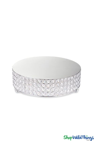 """Beaded Real Crystal Round Cake Stand / Centerpiece Riser """"Prestige"""" - Medium 13 3/4"""" Silver - BUY MORE, SAVE MORE!"""