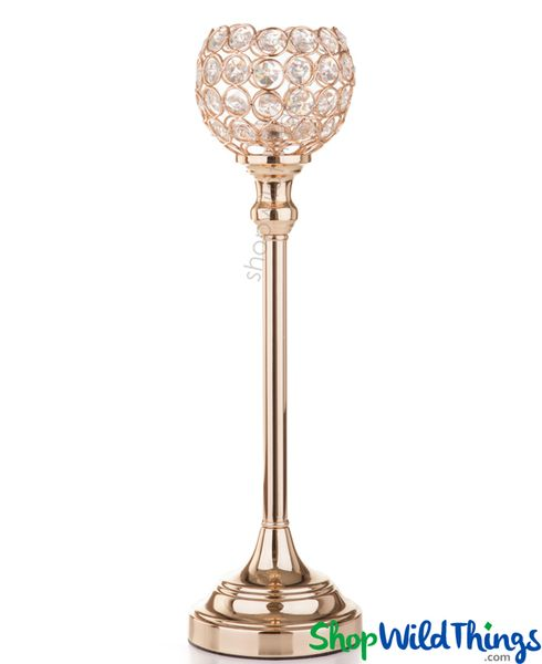 "Beaded Real Crystals Candle Holder - Goblet - ""Prestige"" - 15"" Gold - BUY MORE, SAVE MORE!"