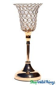 "Beaded Real Crystals Candle Holder - Tulip Shape - ""Prestige"" - Gold 15"""