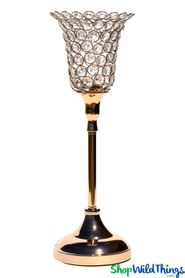 "Beaded Real Crystals Candle Holder - Tulip Shape - ""Prestige"" - Gold 17"""