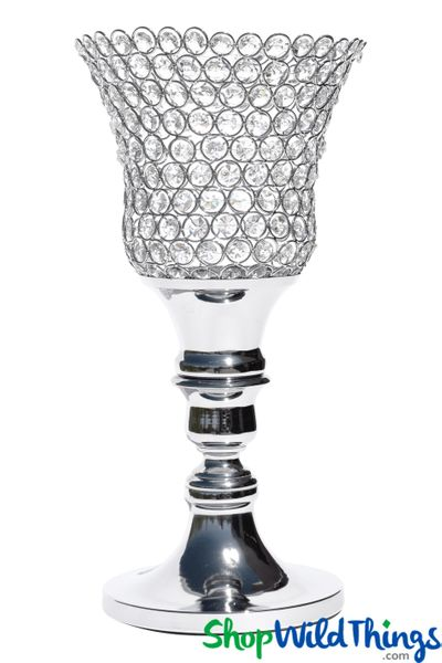 "Beaded Real Crystals Candle Holder - Tulip Shape - ""Prestige"" - Silver 17 3/4"""
