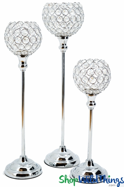 """COMING SOON! Beaded Real Crystals Candle Holders - Goblet Set of 3 - """"Prestige"""" - Silver"""