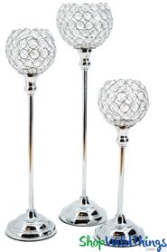 "Beaded Real Crystals Candle Holders - Goblet Set of 3 - ""Prestige"" - Silver"