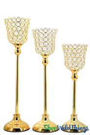 "Beaded Real Crystals Candle Holders - Tulip Set of 3 - ""Prestige"" - Indian Gold"