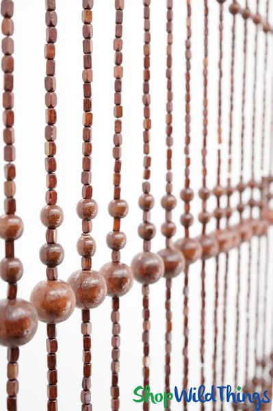 "Wooden Bead Curtain - ""Foster Brown"" - 35"" x 69"" - 19 Strands"