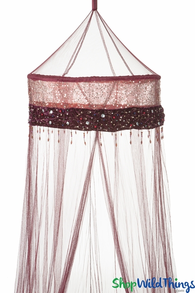 Bed Canopy Mosquito Net - Embellished Velvet & Satin Top - Burgundy