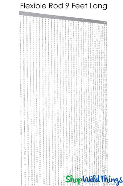 Diamonds Beaded Curtain - Bendable Top - Crystal Iridescent - 3 ft x 9 ft