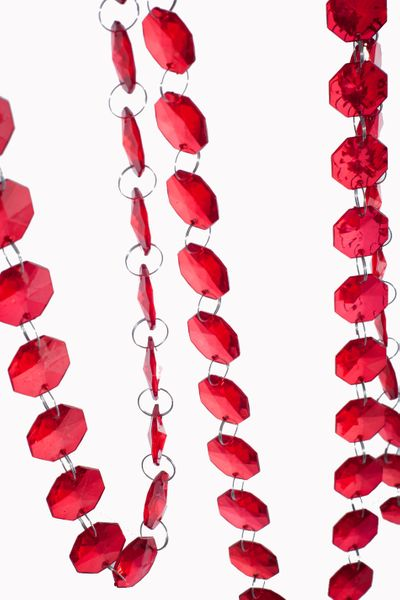 """""""Bianca"""" 29 Foot Long Faceted Large Red Octagon Acrylic Bead Strands"""