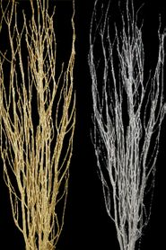 Birch Tree Branches, Heavy Glitter Metallic Silver or Gold - 2Pcs - 5' Tall