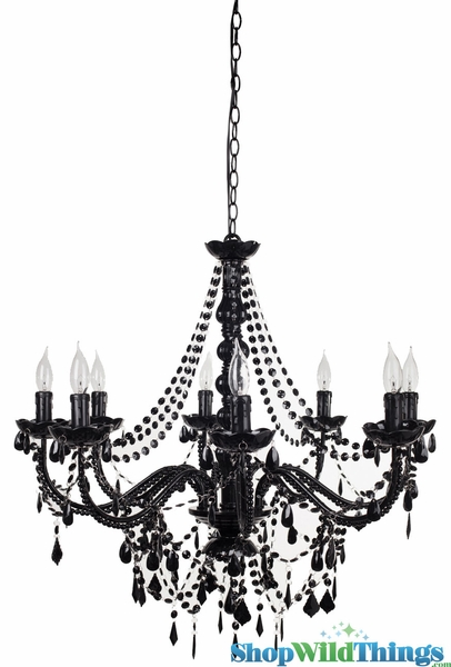 "Chandelier ""Ellena"" Black - 29"" x 21"" - 8 Lights - Hardwire"