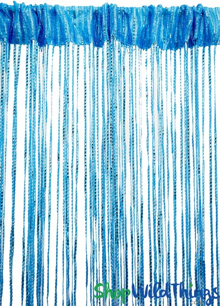 COMING SOON! String Curtains - Sparkle Light Blue w/Tension Rod - 6.4' Long