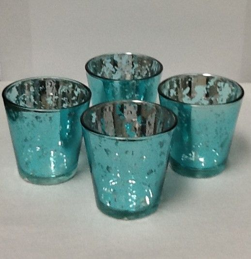 "Coming Soon - Mercury Glass Candle Holders 12 PCS - ""Lydia"" Small 2.5"" Turquoise Blue"