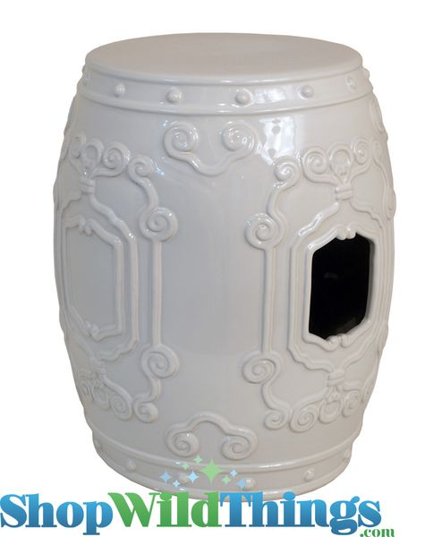 "SALE ! ""Blush"" Ivory Ceramic Garden Stool 18"" x 14"""