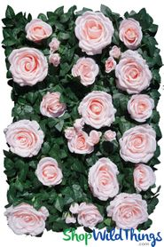 "Flower Wall 19"" x 25"" Premium Silk Roses & Green Leaves - Pink"