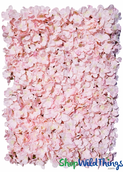 "COMING SOON! Flower Wall 17"" x 25"" Silk Hydrangeas - Blush Pink"