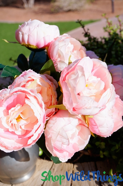 "Deluxe Silk Peony Bouquet - Blush Pink Spray - 19"" Tall, 10 Heads"
