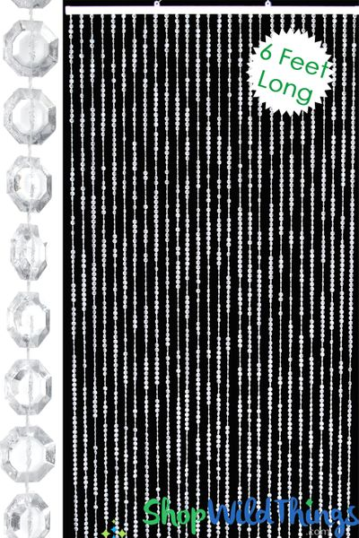 Brilliant Beaded Curtains Clear Non-Iridescent 6 Feet Long