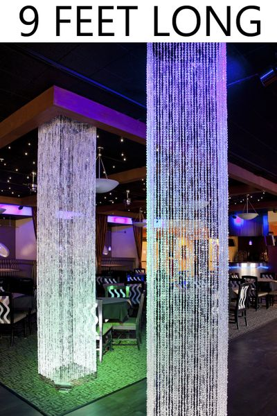 COMING SOON! Brilliant Square Crystal Non-Iridescent Column - 9 Feet Long - PREMIUM QUALITY BEADS!