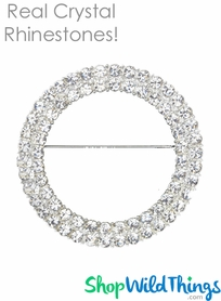 "Brooch Favor Decor - 2 1/8"" Round - Rhinestones (as low as $2.08 each)"