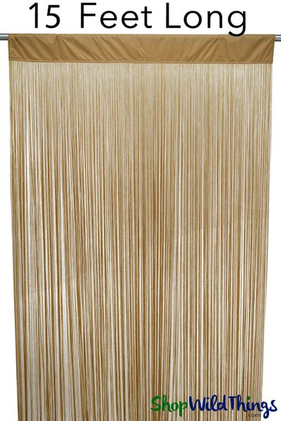 "String Curtain Carmel Brown 35 IN x 15 FT - Polyester & Cotton ""Nassau"""