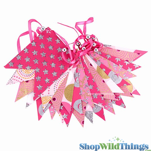 SALE !  Bunting -  Paper Flag & Beads -  Pink Glitter - 10 Feet Long