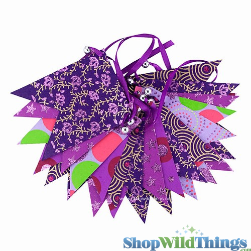 SALE ! Bunting -  Paper Flag & Beads -  Purple Glitter - 10 Feet Long