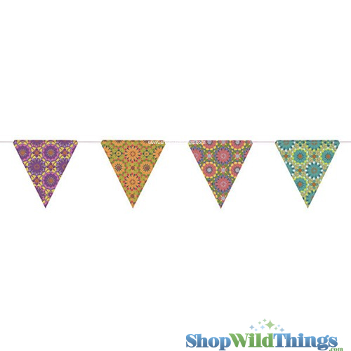 SALE ! Bunting -  Paper Triangle -  Mosaic - 11 Feet Long