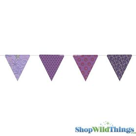 SALE ! Bunting -  Paper Triangle -  Purple Glitter - 11 Feet Long