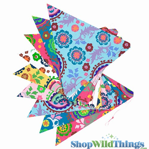 SALE ! Bunting -  Paper Triangle -  Summer - 11 Feet Long