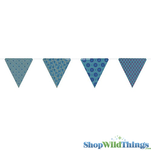 CLEARANCE! Bunting -  Paper Triangle -  Turquoise Glitter - 11 Feet Long