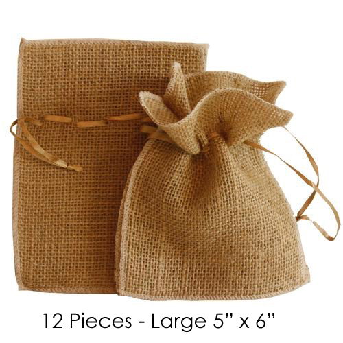 """1 LOT AVAILABLE! CLEARANCE Burlap Pouches 5"""" Wide x 6 1/2"""" Tall - Brown - 13 Bags of 12"""