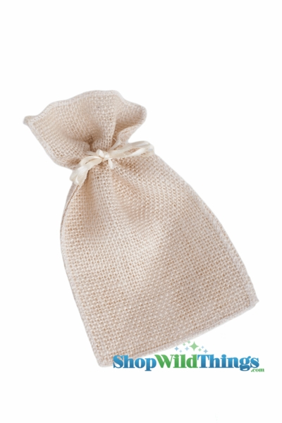 "CLEARANCE Burlap Pouches 5"" Wide x 6 1/2"" Tall - Natural - 24 Bags of 12"