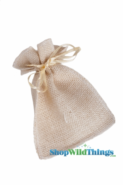 "1 LOT AVAILABLE! CLEARANCE Burlap Pouches 4"" Wide x 7"" Tall - Natural - 36 Bags of 12!"