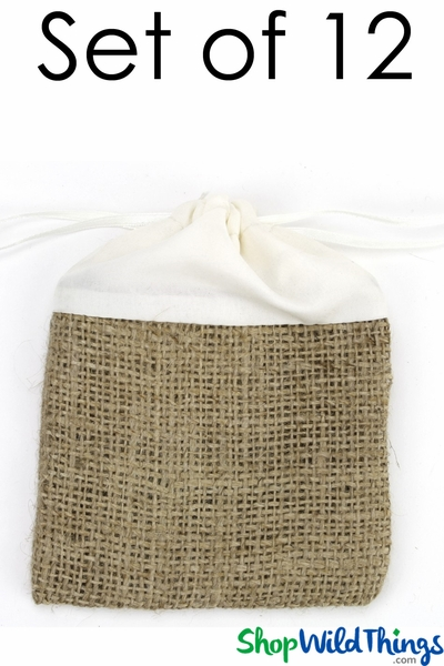 "COMING SOON! SALE ! Burlap & Silk Pouch 4"" Wide x 5 1/4"" Tall - Natural & Ivory - 12 Pcs per Set"
