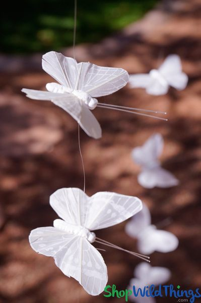 "COMING SOON! Butterfly Garland ""Cielo"" - White Real Feathers - 4 1/2' Long"