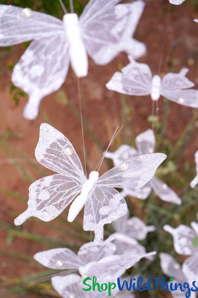 "COMING SOON! Butterfly Garland ""Wedding"" - Clear w/Glitter Tips & Pearls - 6' Long"