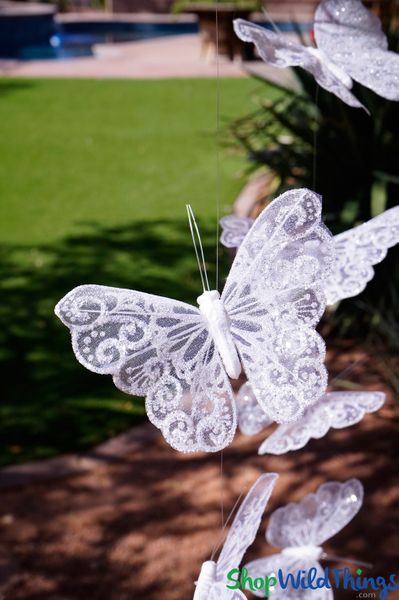 "Butterfly Garland ""Bliss"" - Clear w/Swirl Glitter - 6' Long"