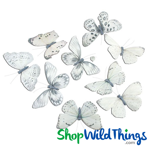 "Butterfly Garland - Real Feathers in Neutral Colors 78"" Long"