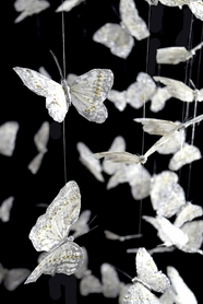 Butterfly Garland - Large - White w/ Silver Glitter