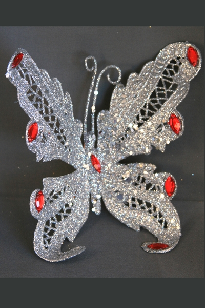 """1 LOT AVAILABLE! CLEARANCE Butterfly Jewel Clip 6"""" - Silver Glitter w/ Red Jewels - 199Pcs"""
