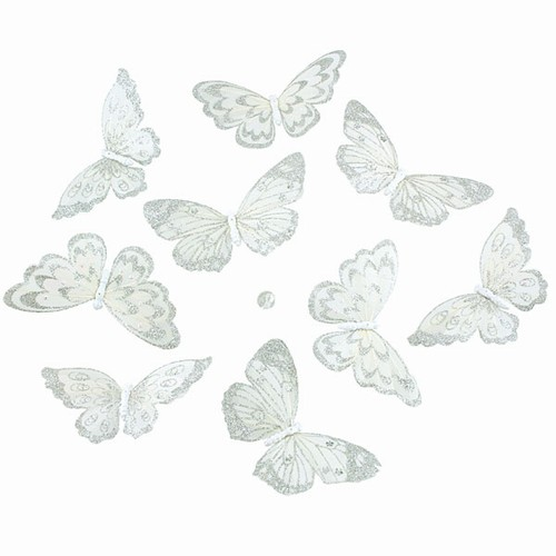 "Butterly Garland - White Butterflies w/Silver Glitter - 70"" Long"