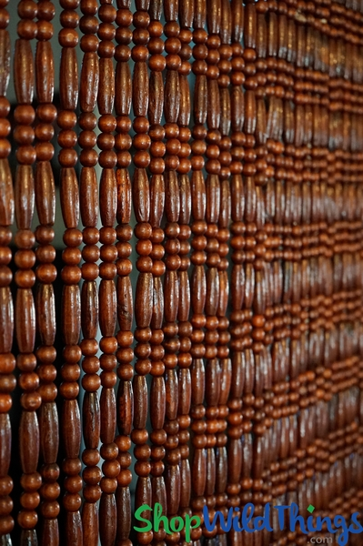 "COMING SOON! Wooden Bead Curtain ""California"" Dark Brown - 35 1/2"" x 70"" - 35 strands - As Seen at Disney!"