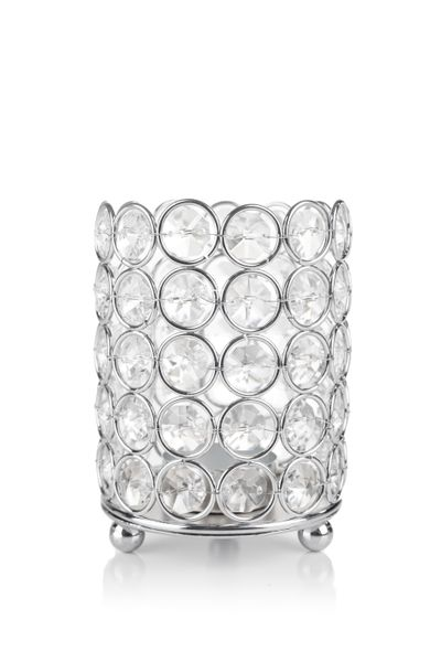 "Candle Holder - Cylinder Beaded Real Crystal - ""Prestige"" -  Crystal Gem Pillar -  4 1/2"" Silver - BUY MORE, SAVE MORE!"