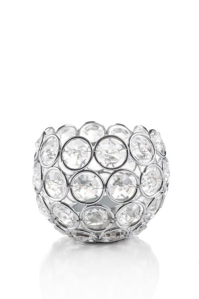 """Candle Holder - Round Beaded Real Crystal Votive -  """"Prestige"""" -  3"""" Silver - BUY MORE, SAVE MORE!"""