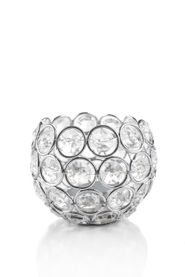 "Candle Holder - Round Beaded Real Crystal Votive -  ""Prestige"" -  3"" Silver - BUY MORE, SAVE MORE!"