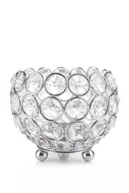 "Candle Holder - Round Real Beaded Crystal Votive -  ""Prestige"" -  4"" Silver - BUY MORE, SAVE MORE!"