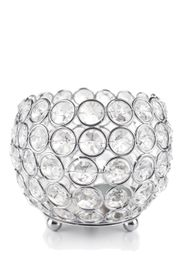 "Candle Holder - Round Beaded Real Crystal Votive -  ""Prestige"" -  5"" Silver - BUY MORE, SAVE MORE!"